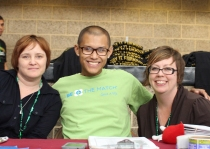 Jodi and Timaree with Steven Lee, Leukemia Survivor, at Caemon's Birthday Blood Drive